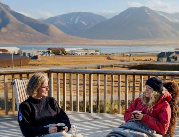 Fin utsikt från hotell Radisson Spitsbergen på Svalbard