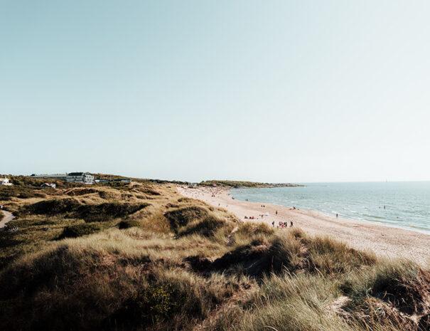 Den långa sandstranden i Tylösand